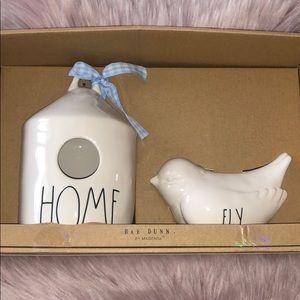 RAE DUNN  |  HOME Birdhouse & FLY Bird Bank Set